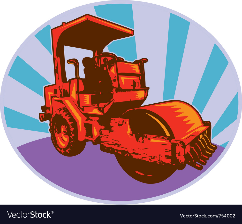 Road roller construction equipment machinery vector | Price: 1 Credit (USD $1)
