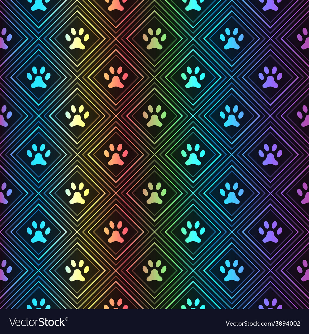 Seamless animal spectrum pattern of paw footprint vector | Price: 1 Credit (USD $1)