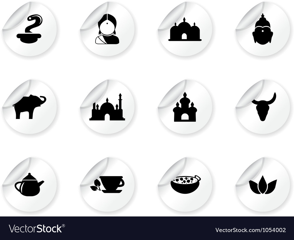 Stickers with indian icons vector | Price: 1 Credit (USD $1)