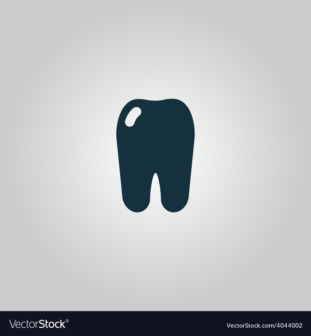 Tooth icon flat symbol vector | Price: 1 Credit (USD $1)