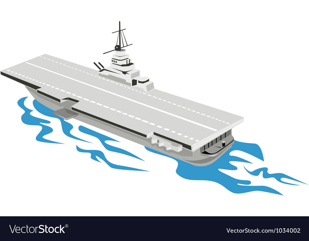 World war two aircraft carrier retro vector | Price: 1 Credit (USD $1)