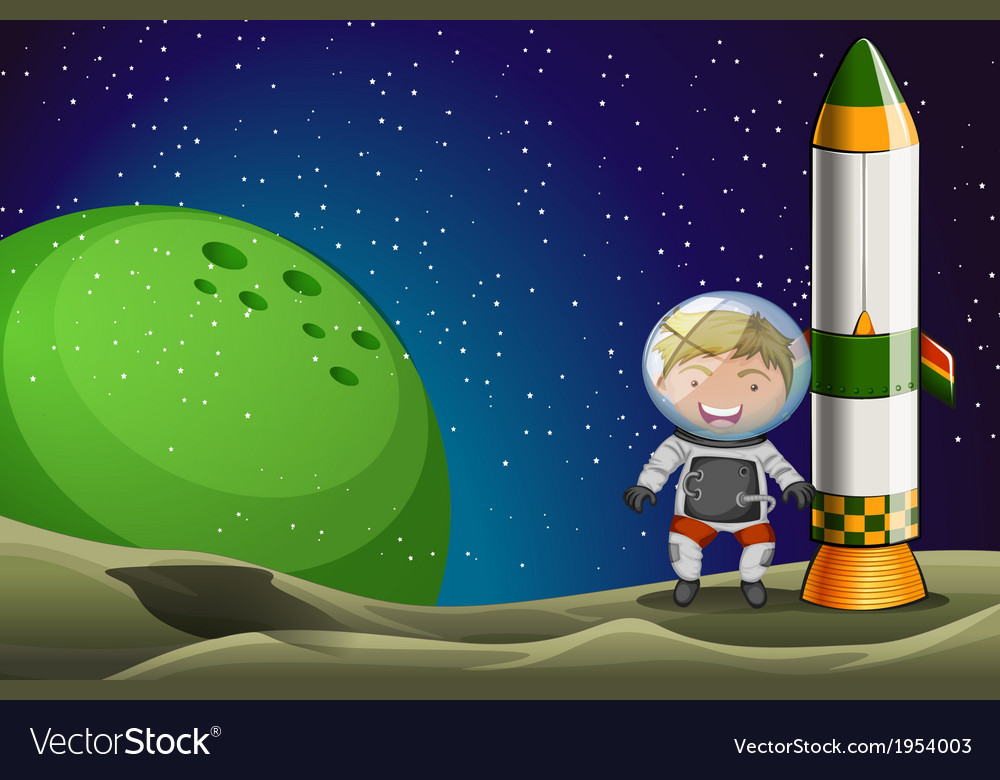 A man in the space standing beside the rocket vector | Price: 1 Credit (USD $1)