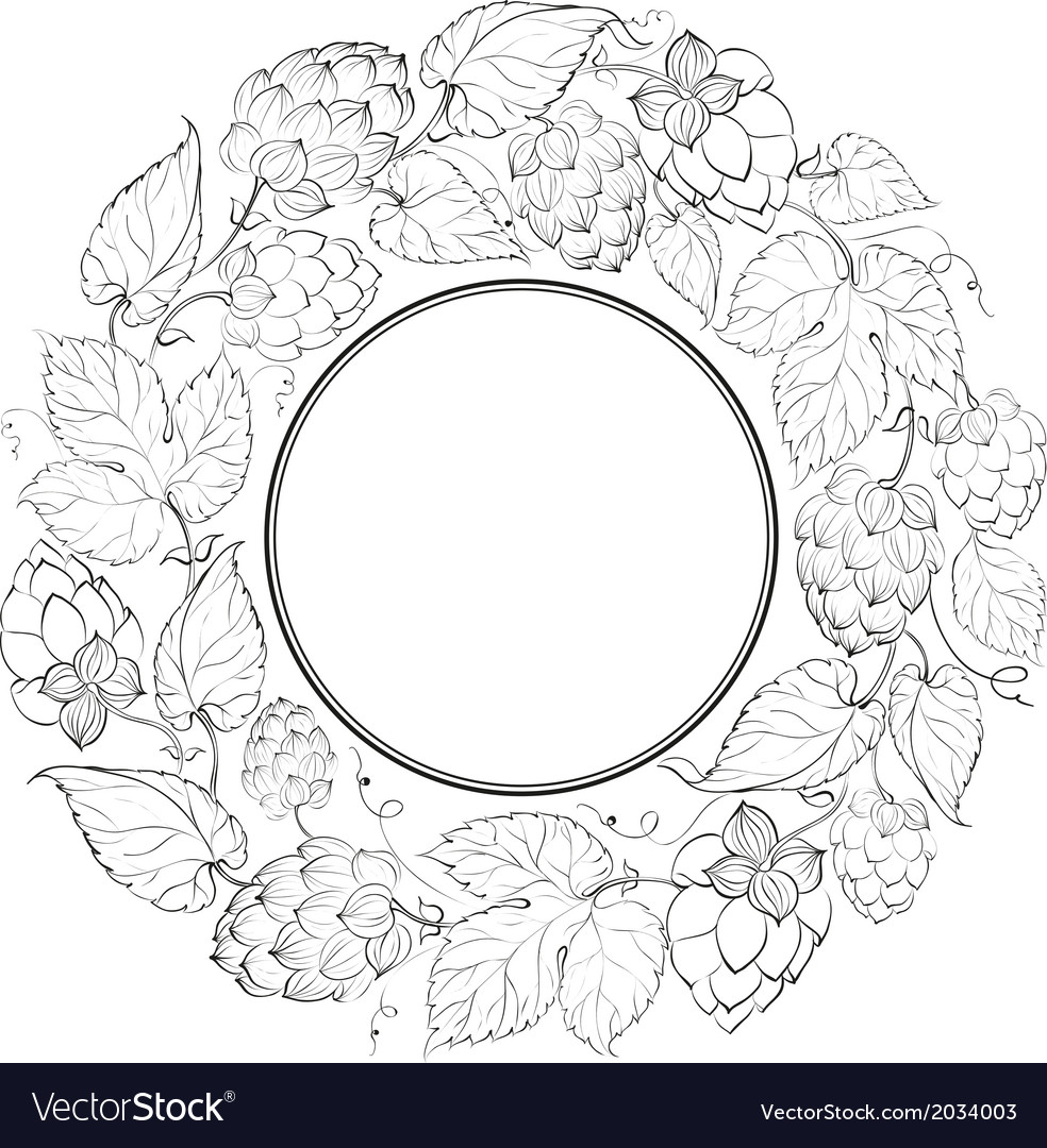Black circle of fruit hops vector | Price: 1 Credit (USD $1)