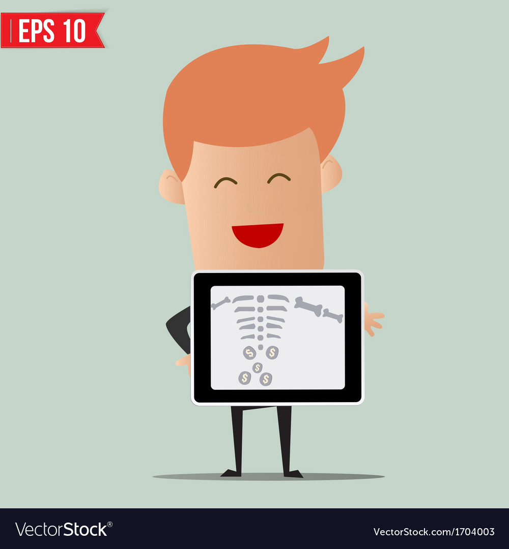 Business man showing scan x-ray report - - e vector | Price: 1 Credit (USD $1)