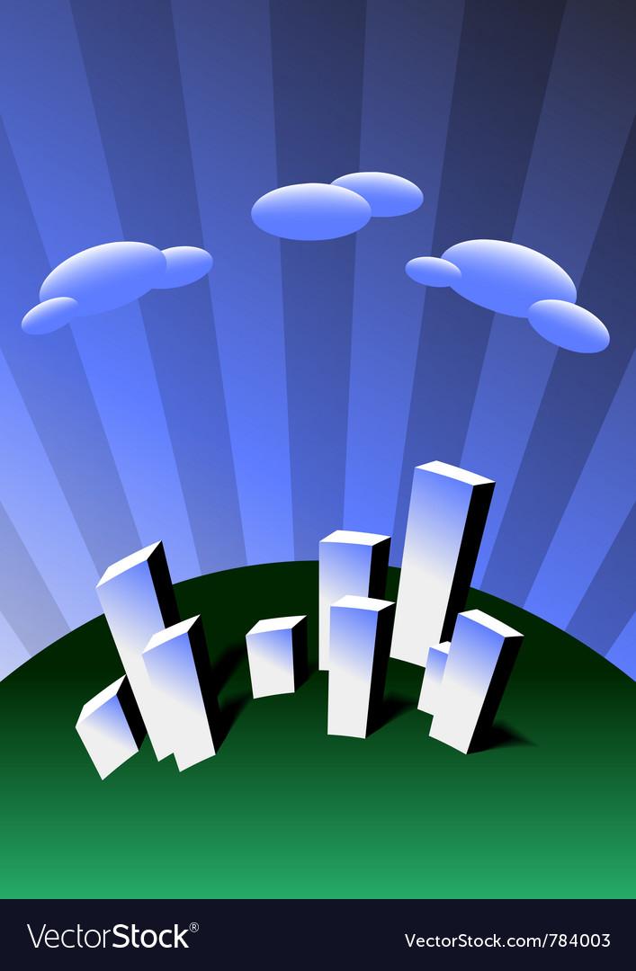 Cartoon city with skyscrapers vector | Price: 1 Credit (USD $1)
