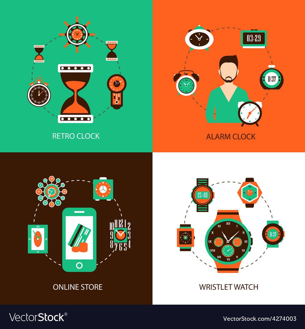 Clock design concept set vector | Price: 1 Credit (USD $1)
