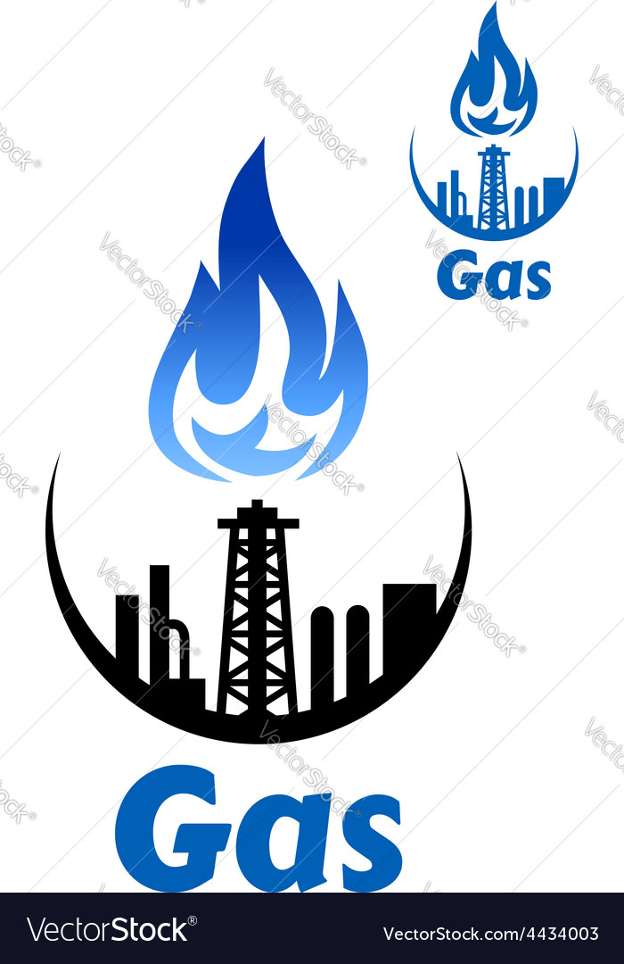 Gas processing factory icon or emblem vector | Price: 1 Credit (USD $1)