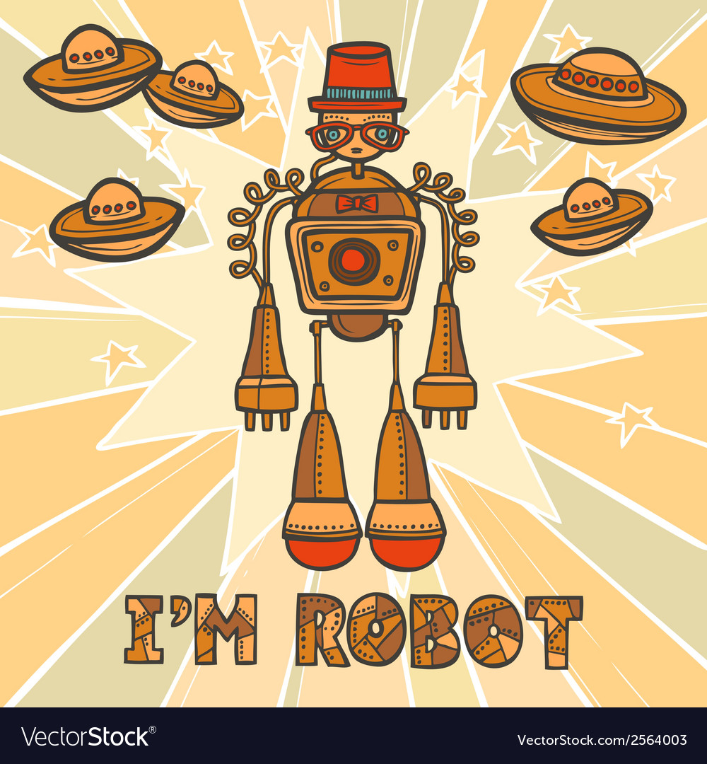 Hipster robot design vector | Price: 1 Credit (USD $1)