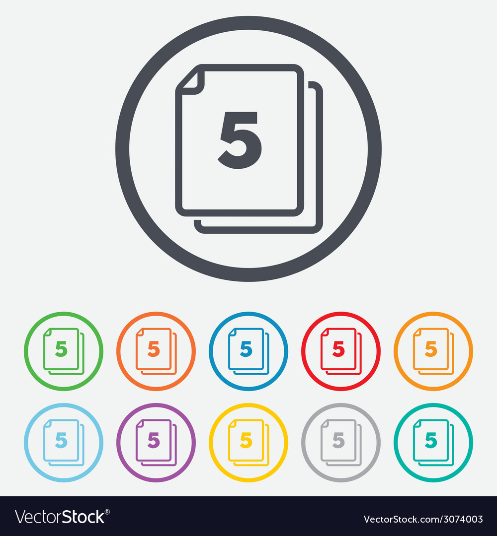In pack 5 sheets sign icon 5 papers symbol vector   Price: 1 Credit (USD $1)