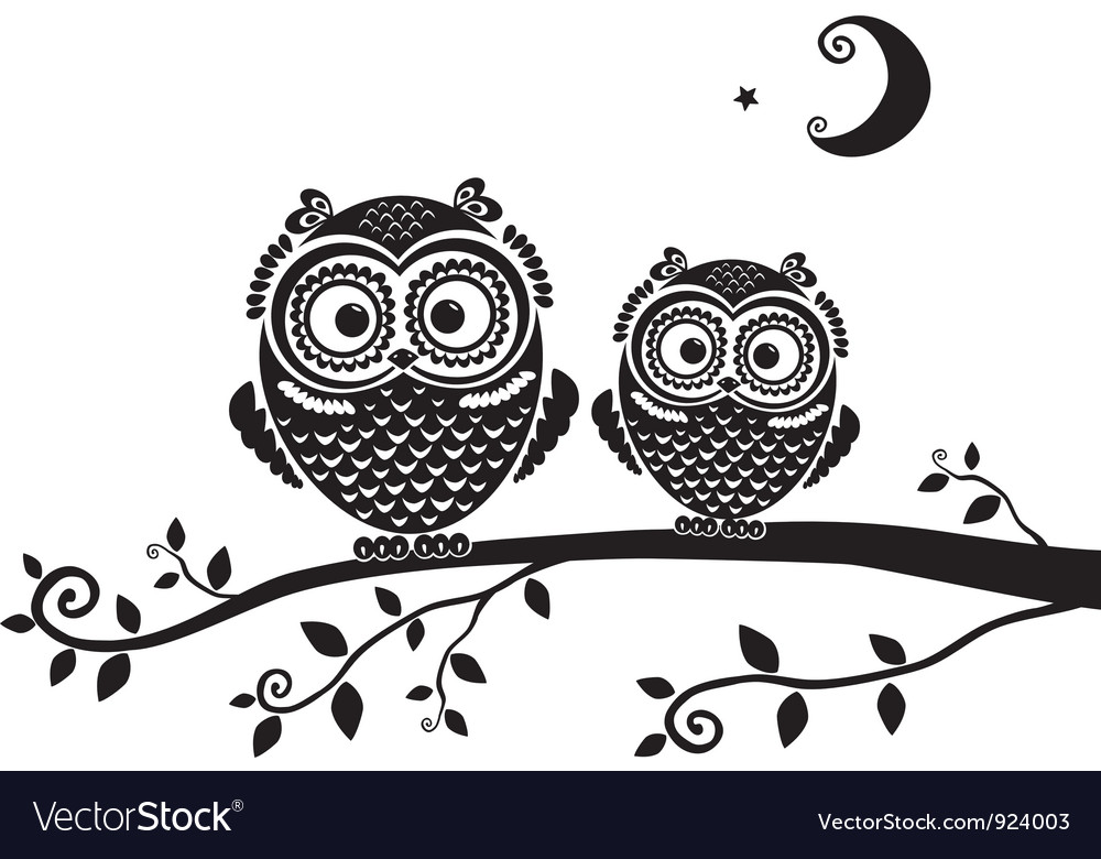 Owl black vector | Price: 1 Credit (USD $1)