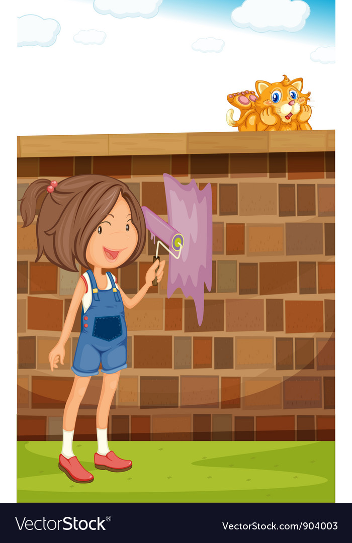 Painting the fence vector | Price: 3 Credit (USD $3)