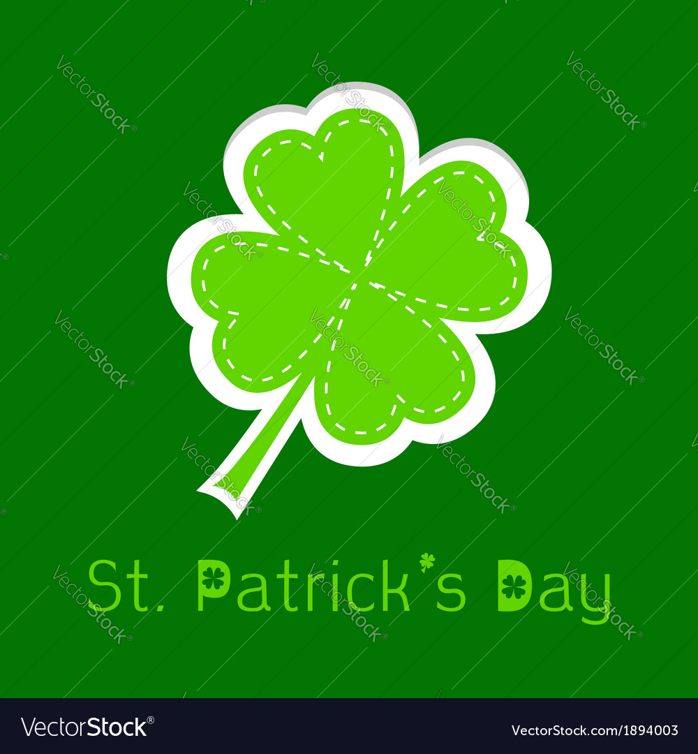 Paper clover leaf dash line happy st patricks day vector | Price: 1 Credit (USD $1)