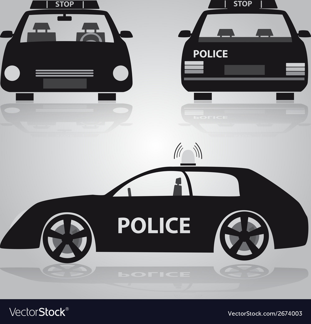 Police car from front back and side view eps10 vector | Price: 1 Credit (USD $1)
