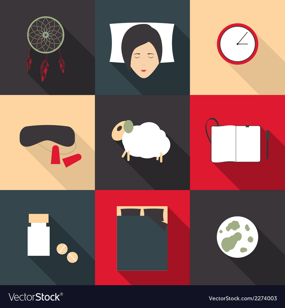 Set of colored icons on a theme of sleep in a flat vector | Price: 1 Credit (USD $1)