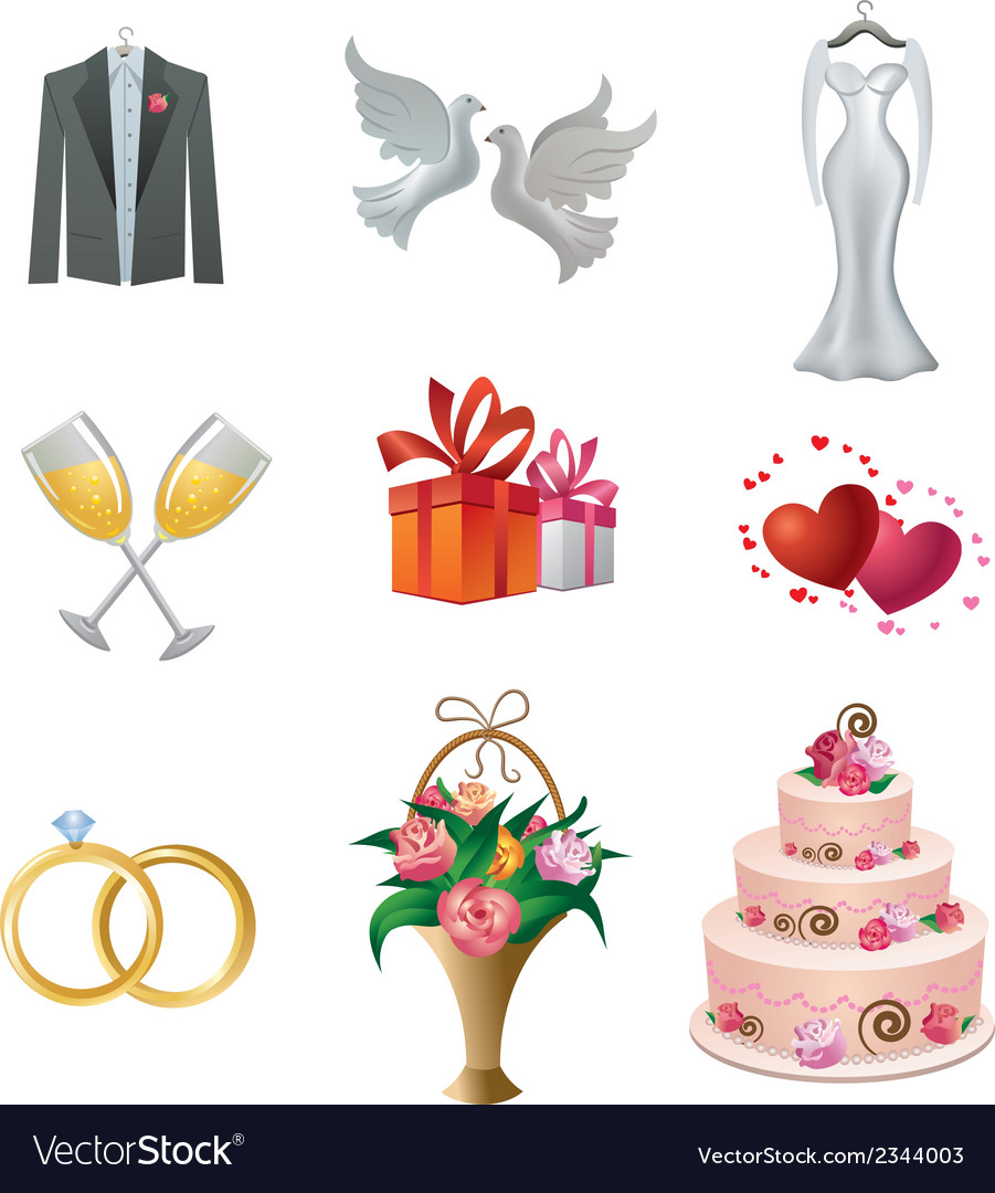 Wedding icon set vector | Price: 3 Credit (USD $3)
