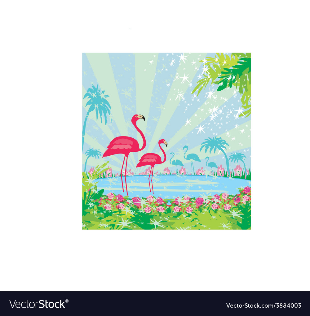With green palms and pink flamingo vector | Price: 1 Credit (USD $1)
