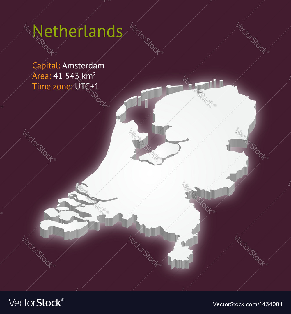 3d map of netherlands vector | Price: 1 Credit (USD $1)