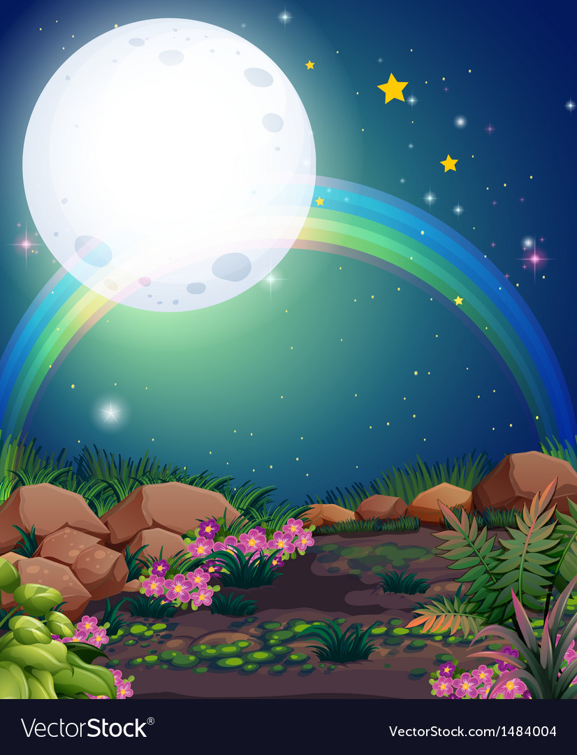 A rainbow during nighttime vector | Price: 1 Credit (USD $1)