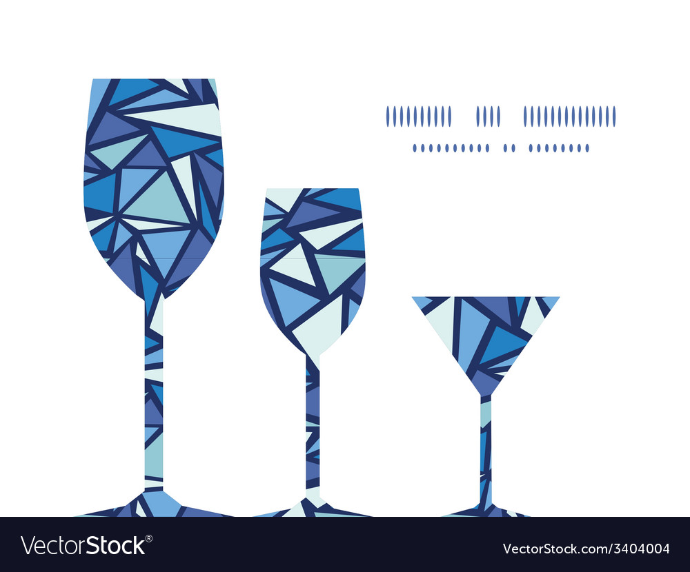 Abstract ice chrystals three wine glasses vector | Price: 1 Credit (USD $1)