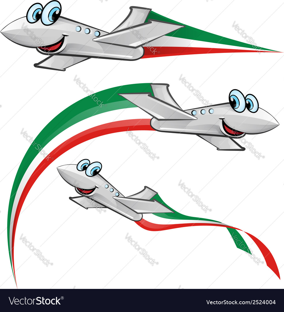 Airoplane cartoon with italian flag vector | Price: 1 Credit (USD $1)