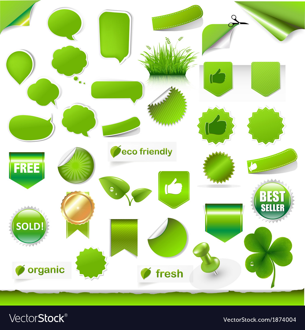 Big green labels set vector | Price: 1 Credit (USD $1)