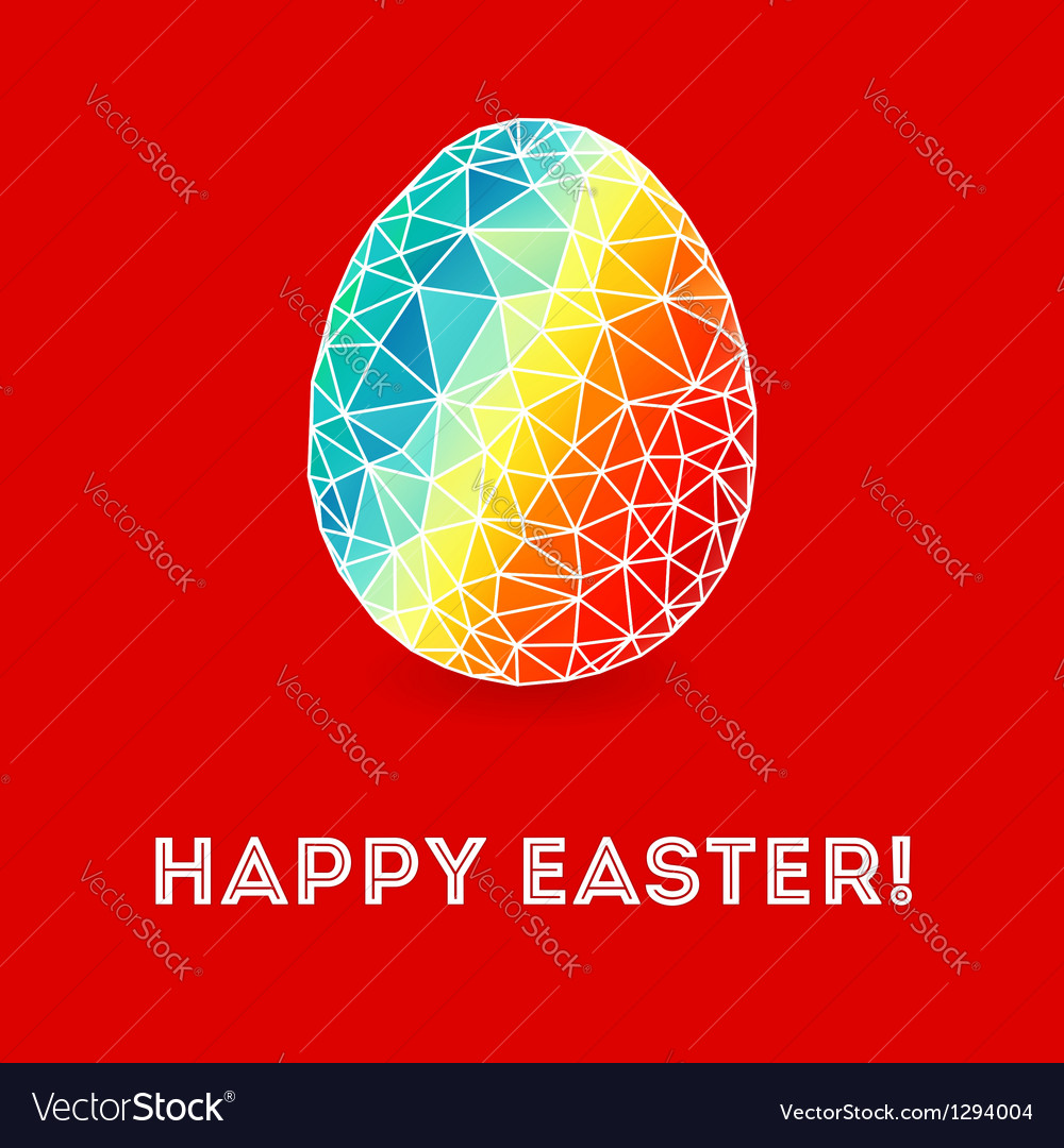 Colorful easter egg on bright red background vector | Price: 1 Credit (USD $1)