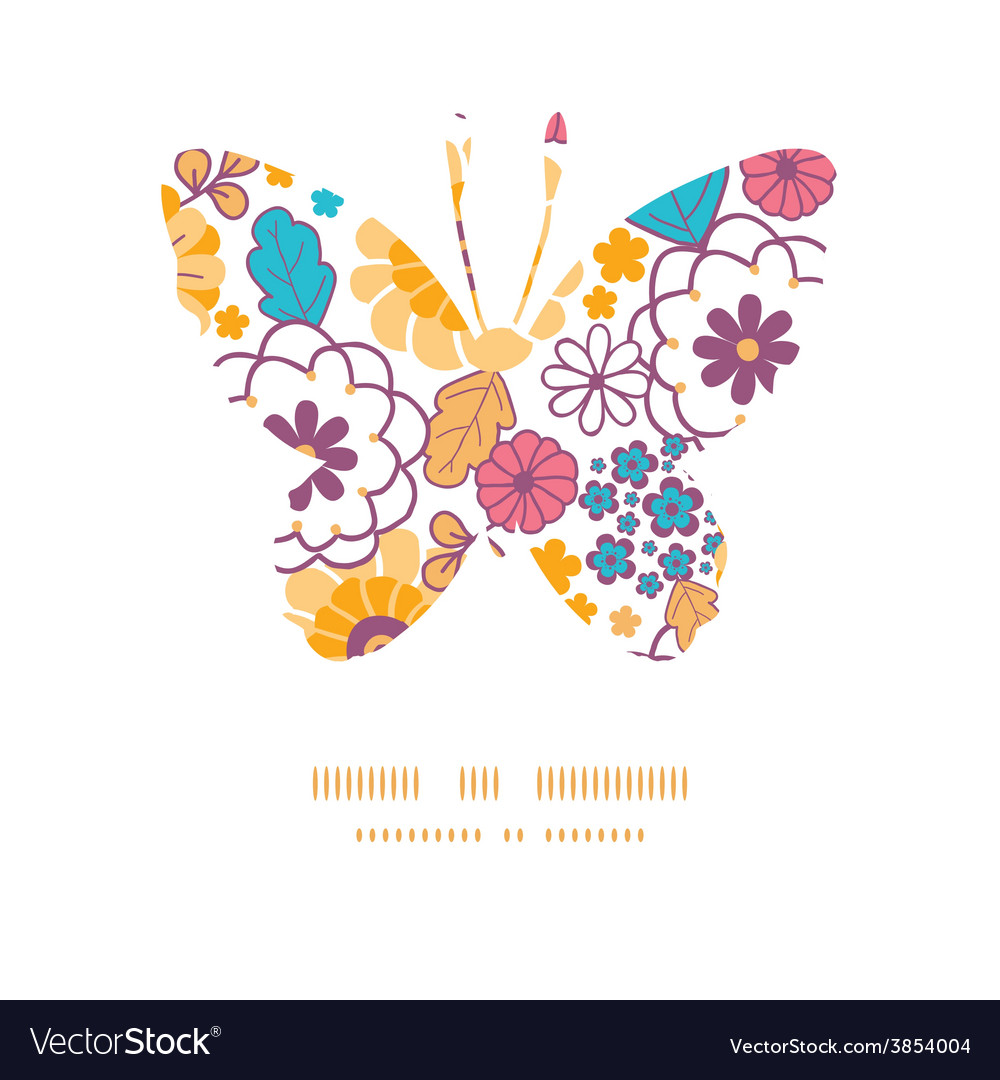 Colorful oriental flowers butterfly vector | Price: 1 Credit (USD $1)
