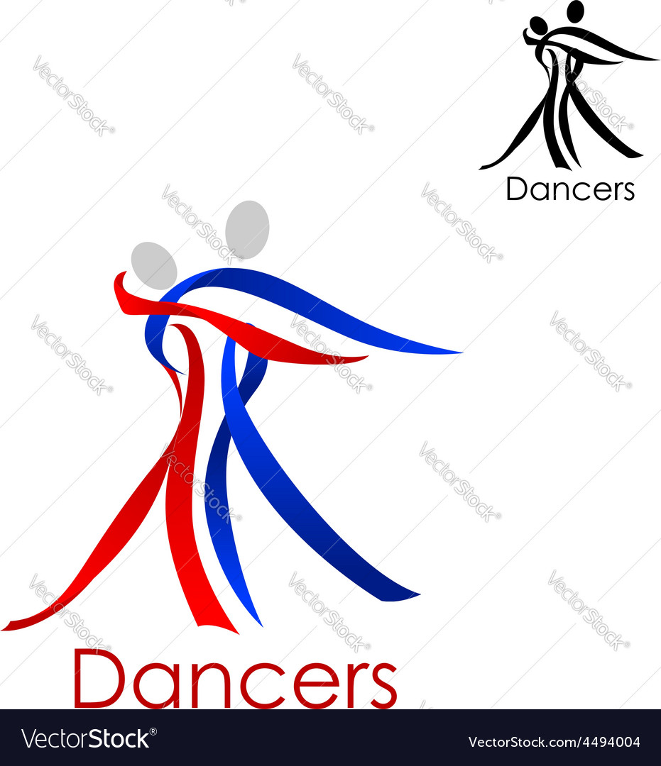 Dancing couple abstract emblem template vector | Price: 1 Credit (USD $1)