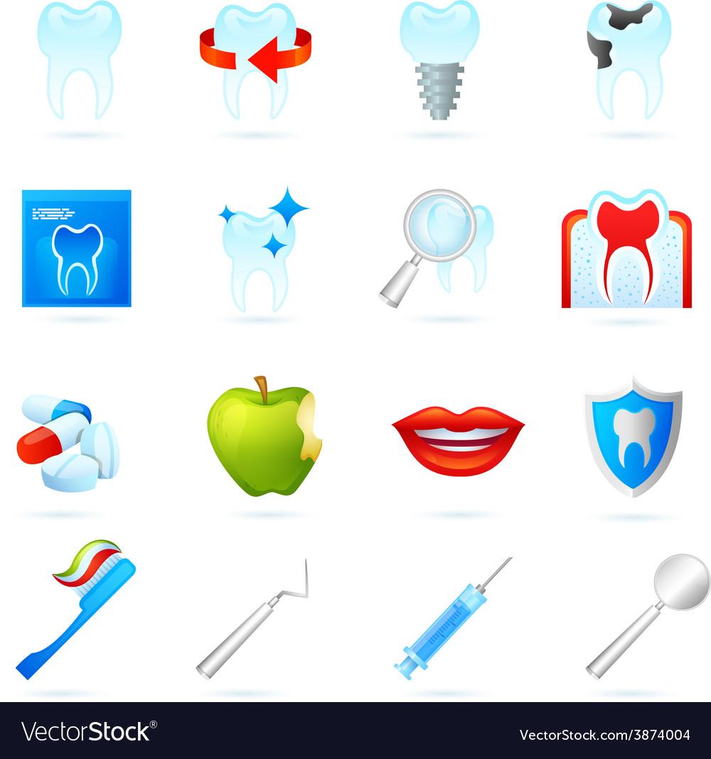 Dental icons set vector | Price: 1 Credit (USD $1)
