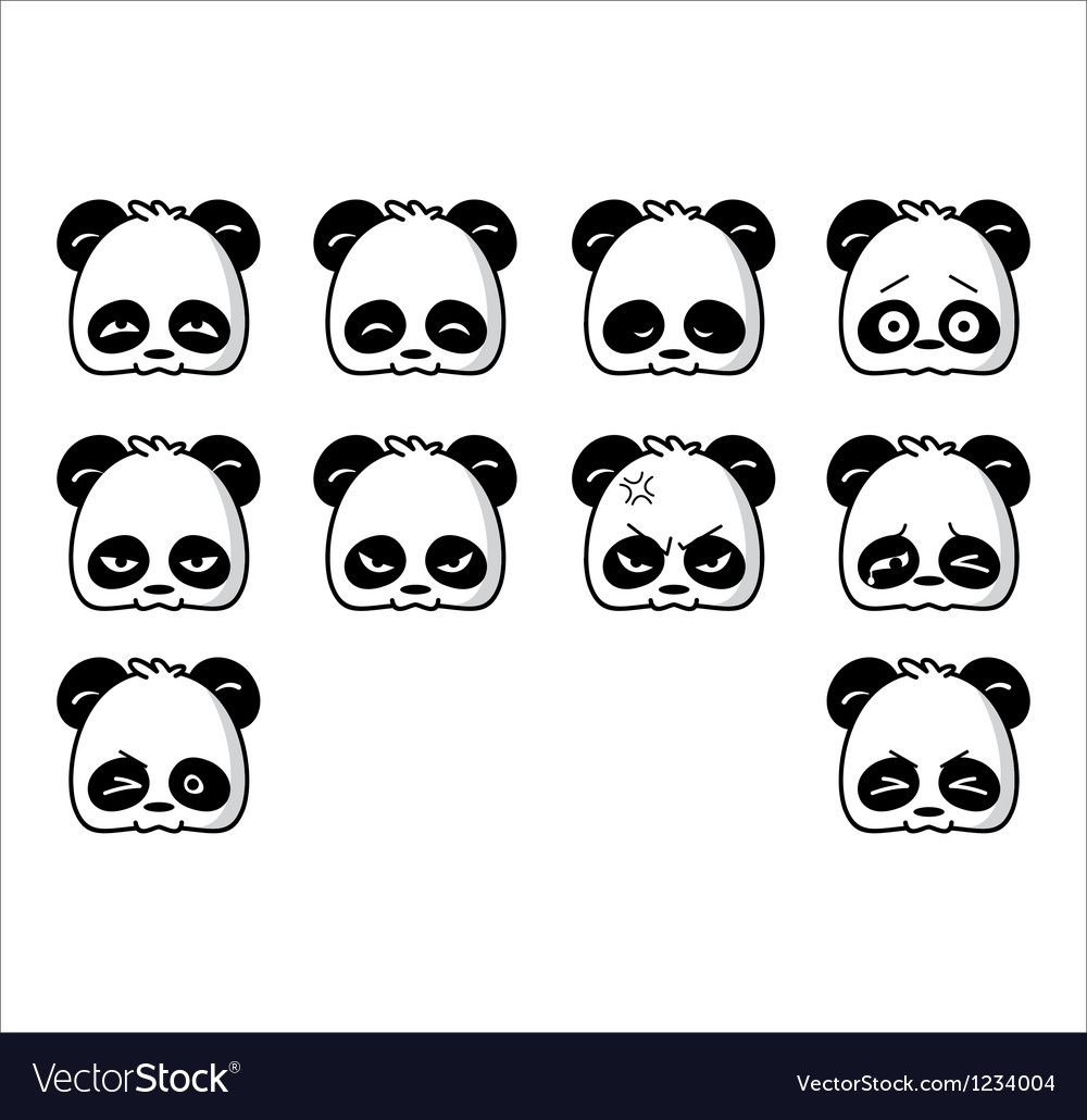Emoticon panda regular vector | Price: 1 Credit (USD $1)