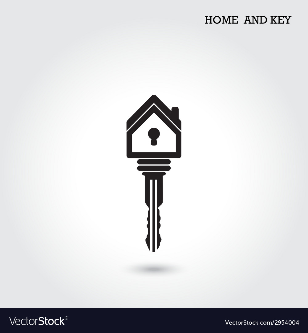 Home icon and key symbol in flat design style vector | Price: 1 Credit (USD $1)