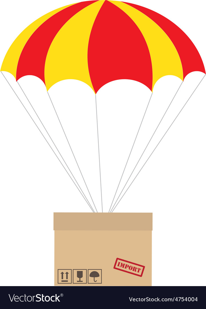 Package with parachute vector | Price: 1 Credit (USD $1)