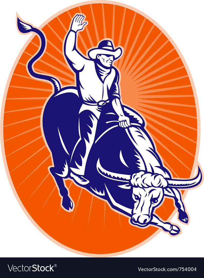 Rodeo cowboy texas longhorn bull vector | Price: 1 Credit (USD $1)