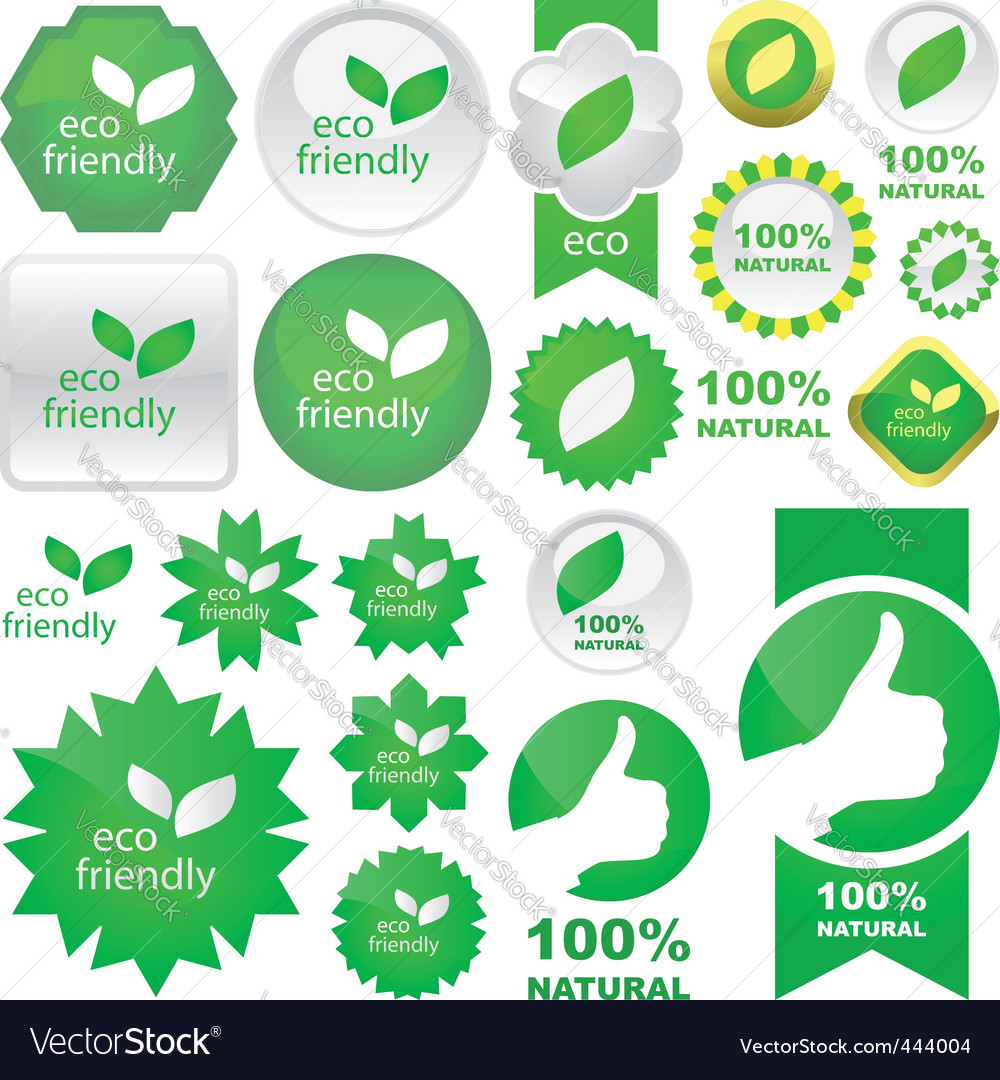 Set of natural labels vector | Price: 1 Credit (USD $1)