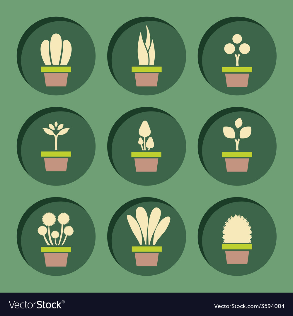 Set of pot plants symbol vector | Price: 1 Credit (USD $1)