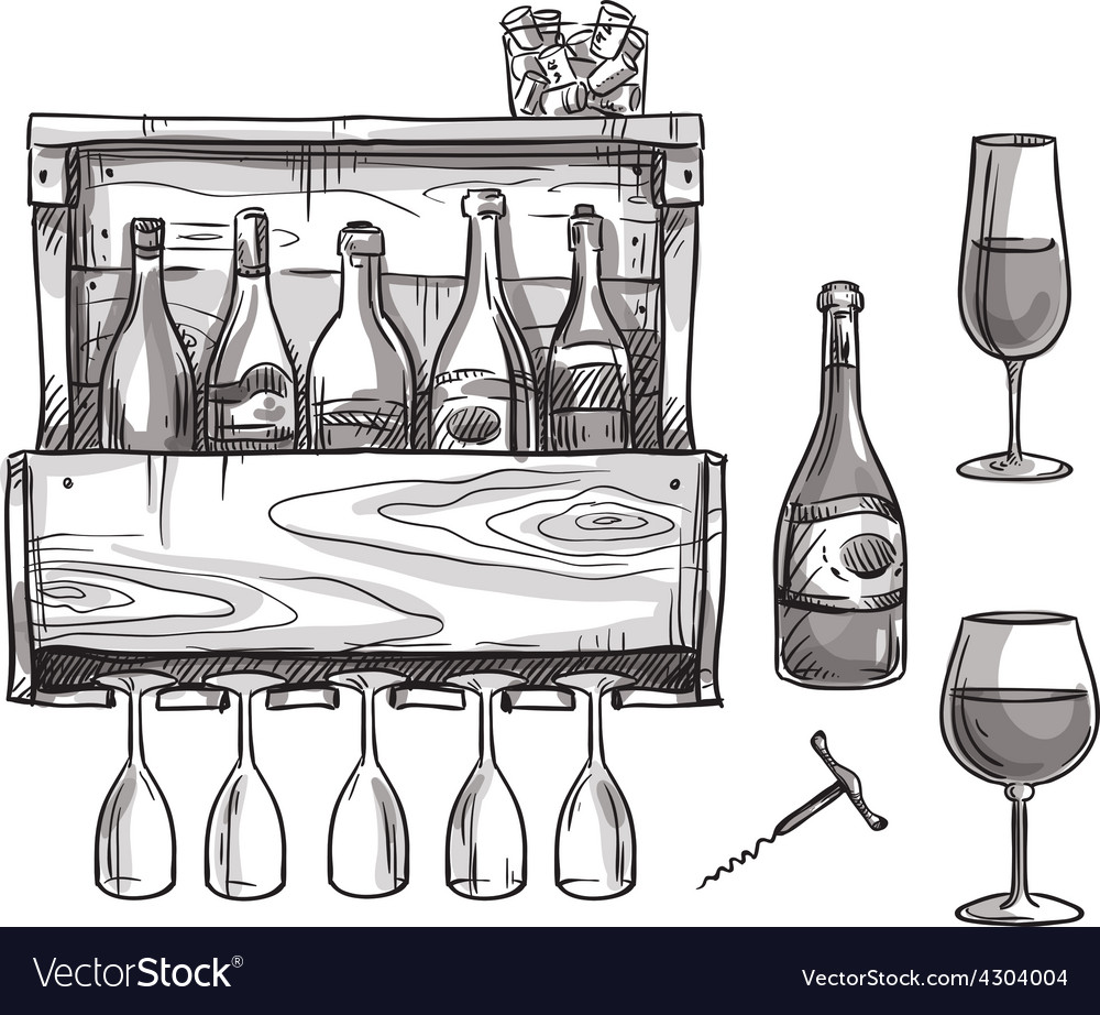 Wine holder bottles and glasses vector | Price: 1 Credit (USD $1)
