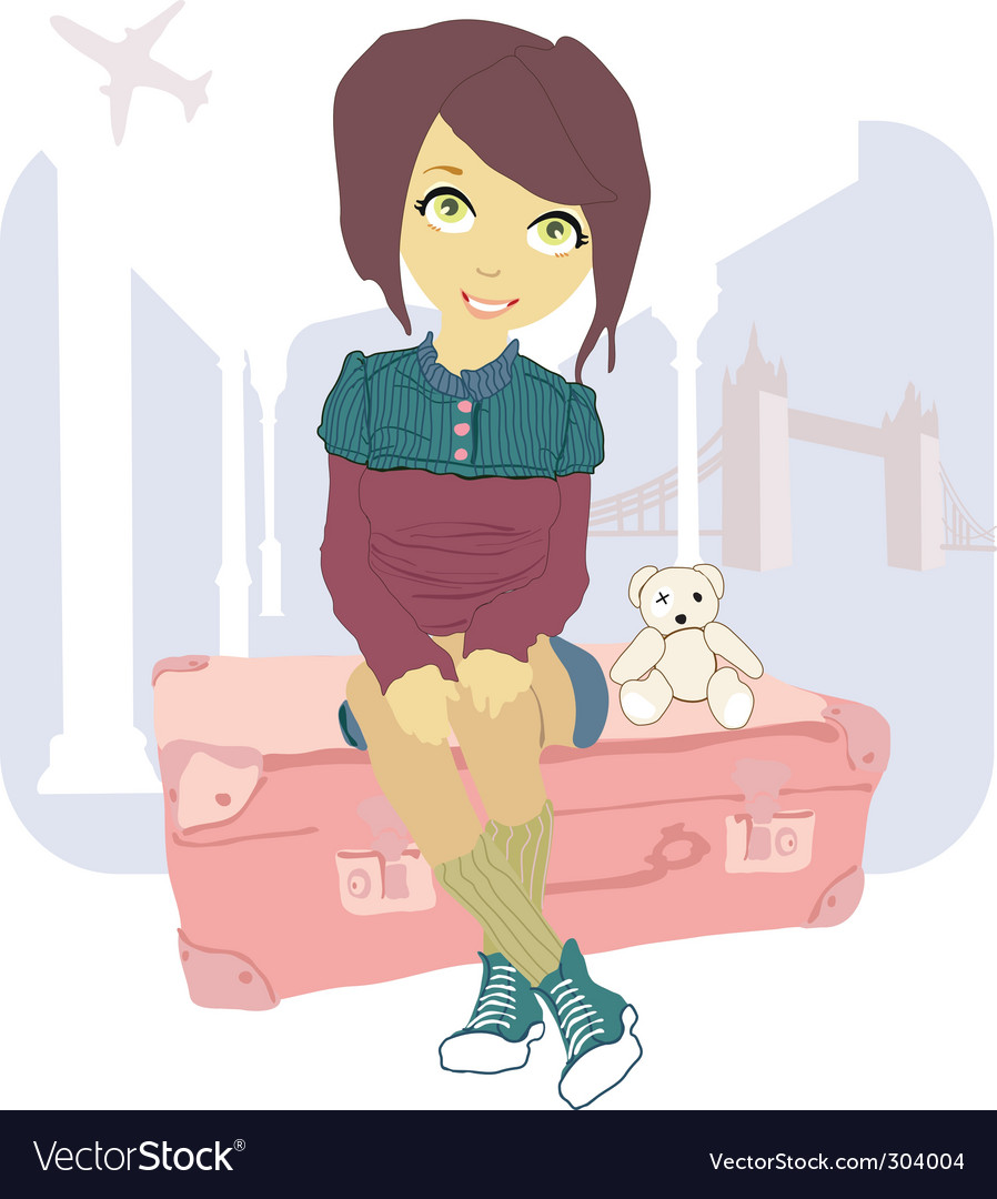 Woman sitting on suitcase vector   Price: 3 Credit (USD $3)