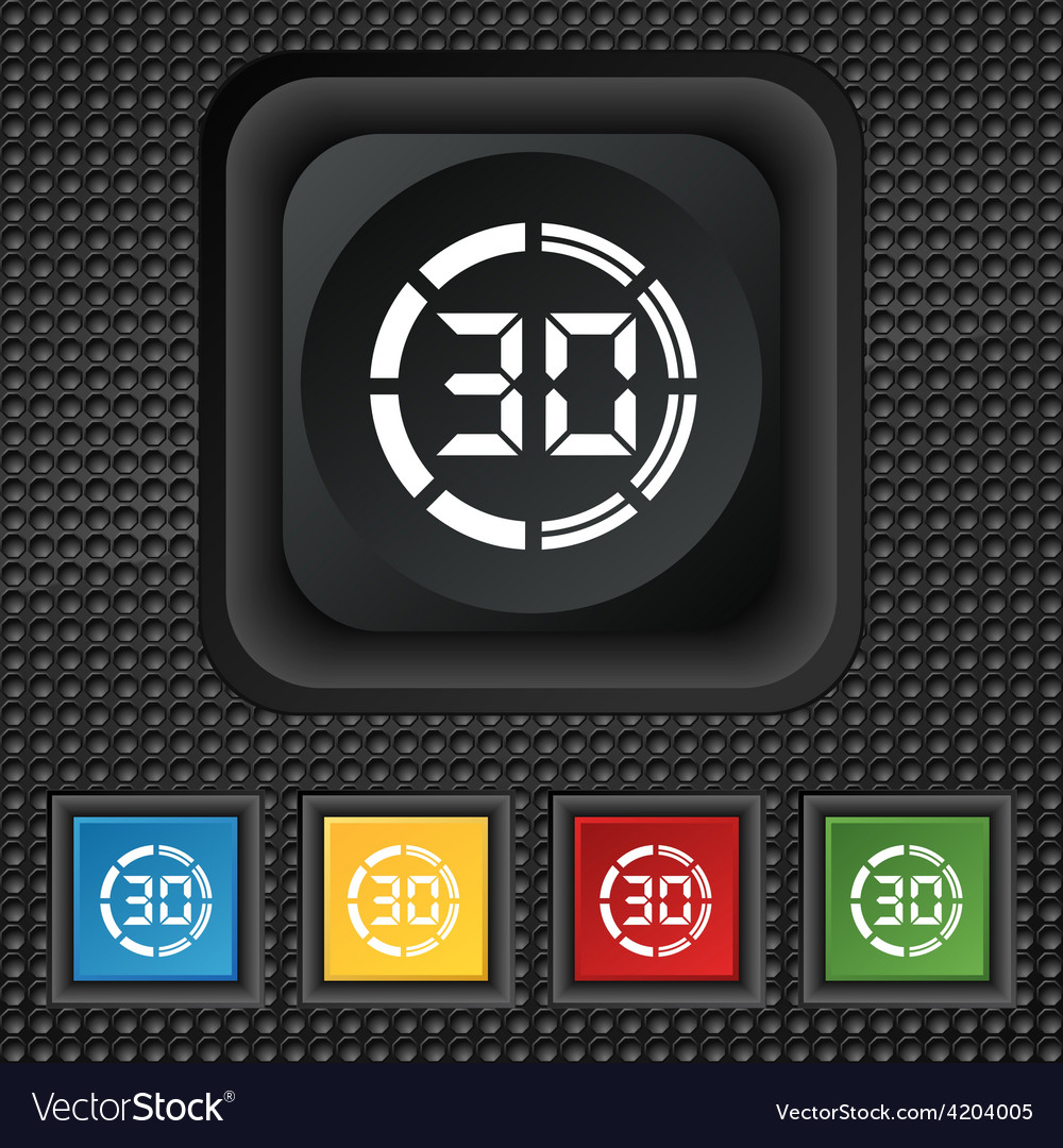 30 second stopwatch icon sign symbol squared vector | Price: 1 Credit (USD $1)