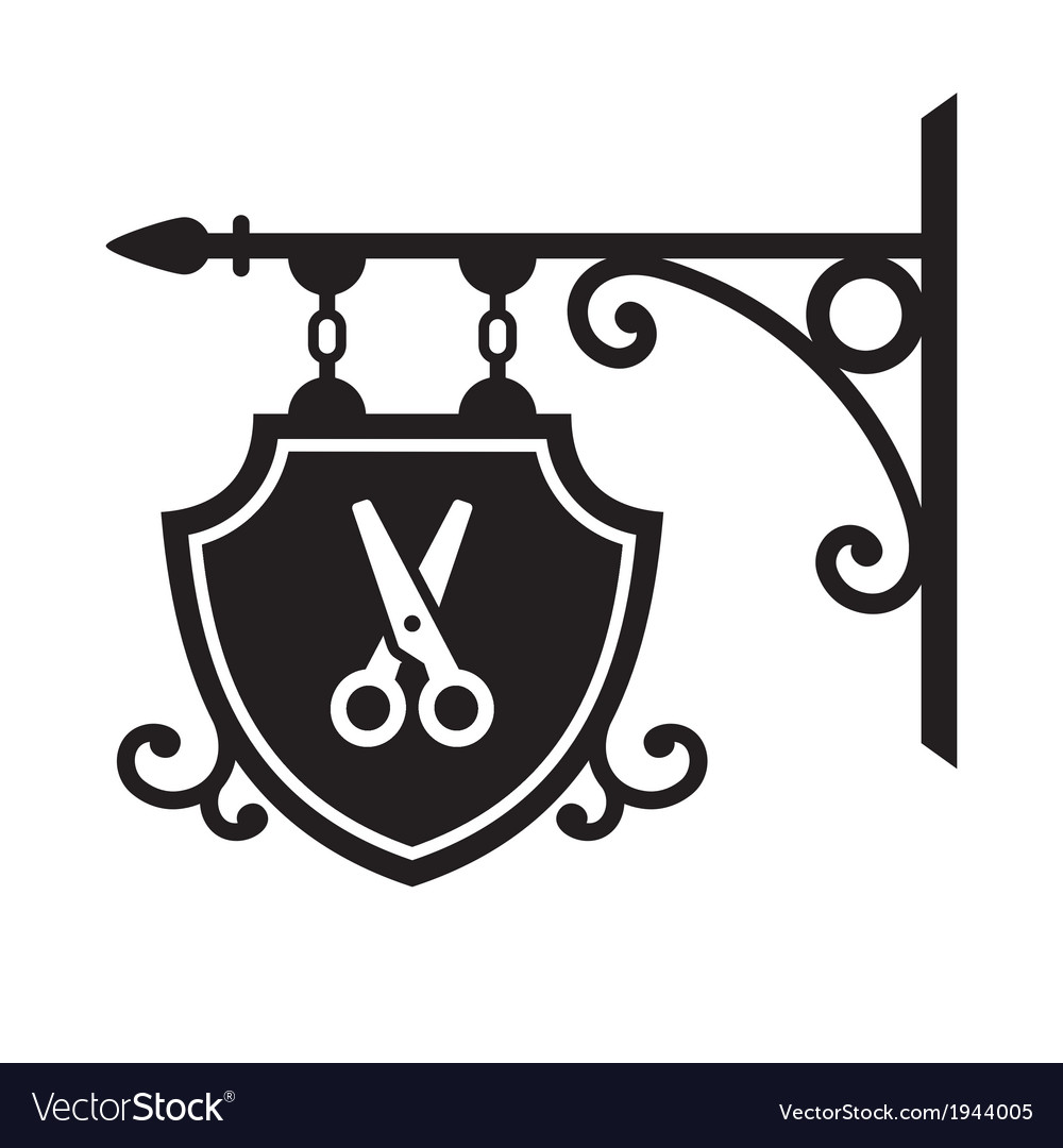 Ancient street signboard of hairdresser vector | Price: 1 Credit (USD $1)