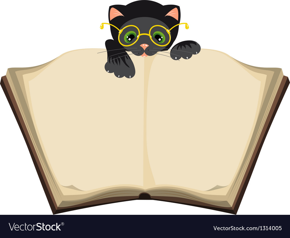 Cat reading open book vector | Price: 1 Credit (USD $1)