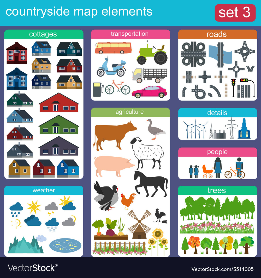 Contryside map elements vector | Price: 1 Credit (USD $1)