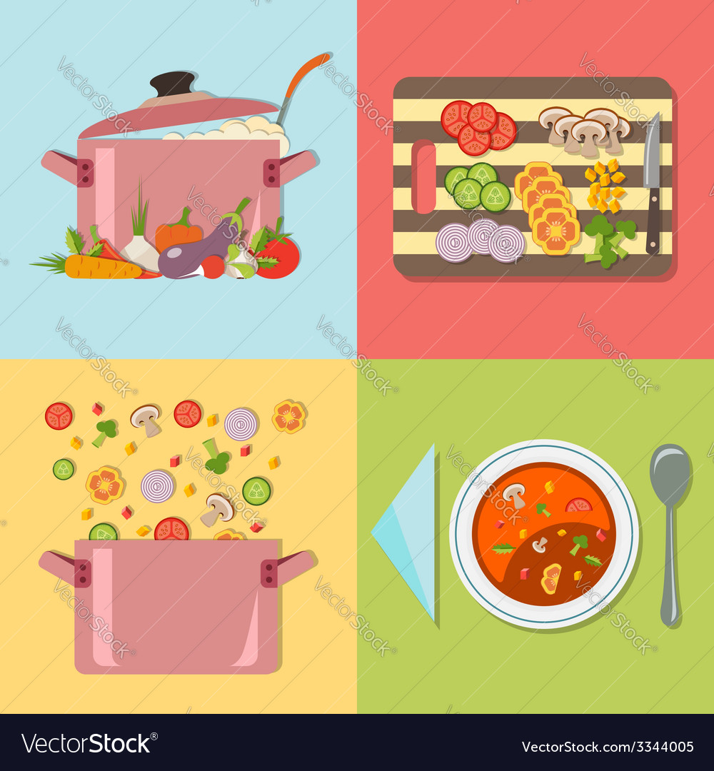 Cooking four stages of preparing vegetable soup vector | Price: 1 Credit (USD $1)