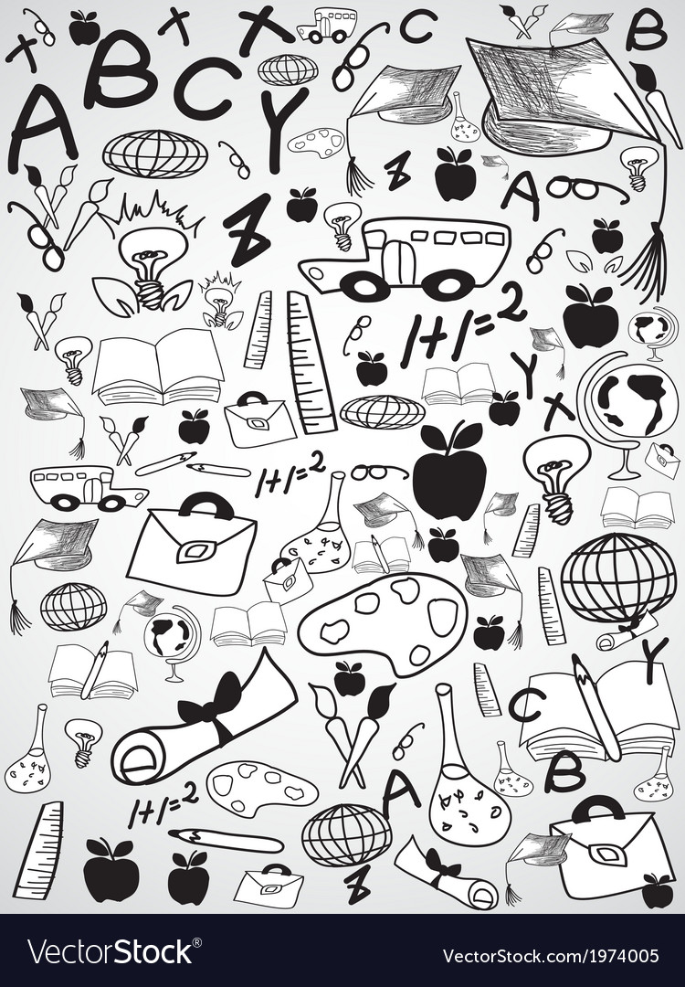 Doodle education background vector | Price: 1 Credit (USD $1)