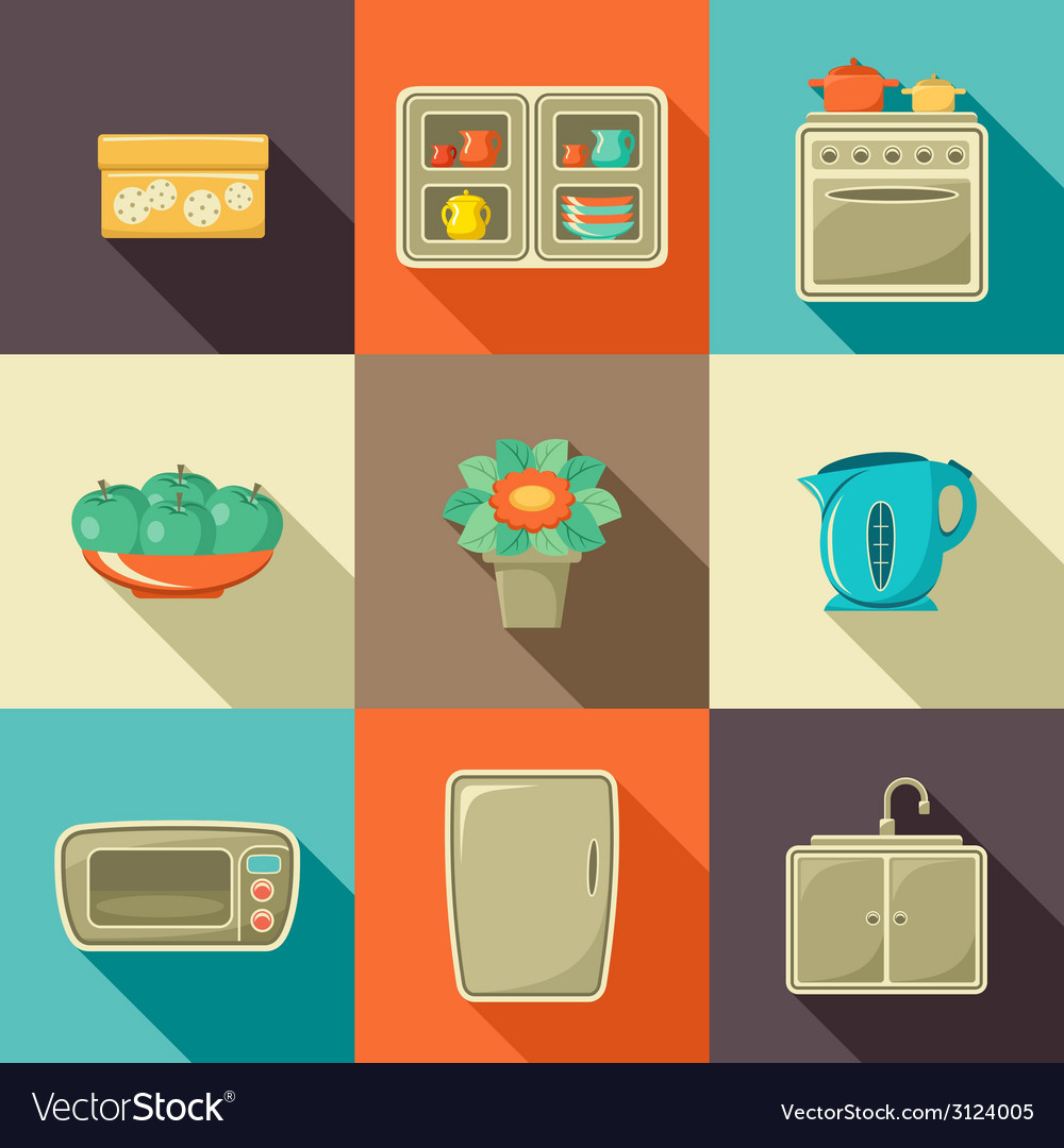 Flat icons with household objects vector | Price: 1 Credit (USD $1)
