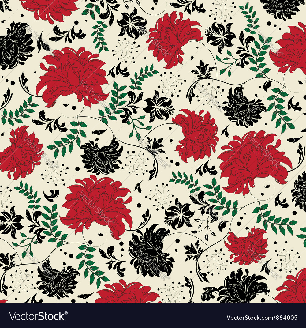 Floral seamless pattern with red and black element vector | Price: 1 Credit (USD $1)