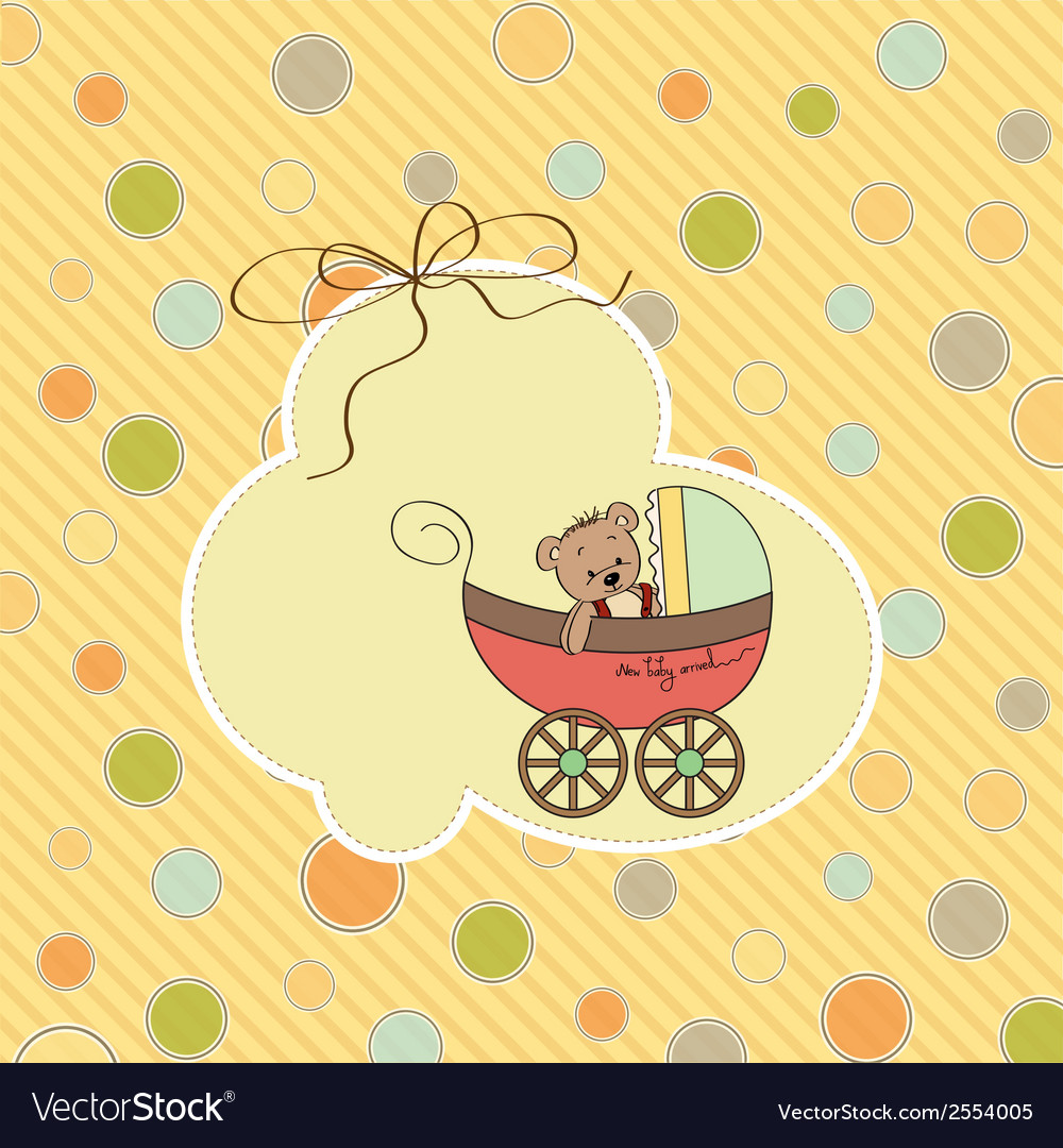Funny teddy bear in stroller vector | Price: 1 Credit (USD $1)
