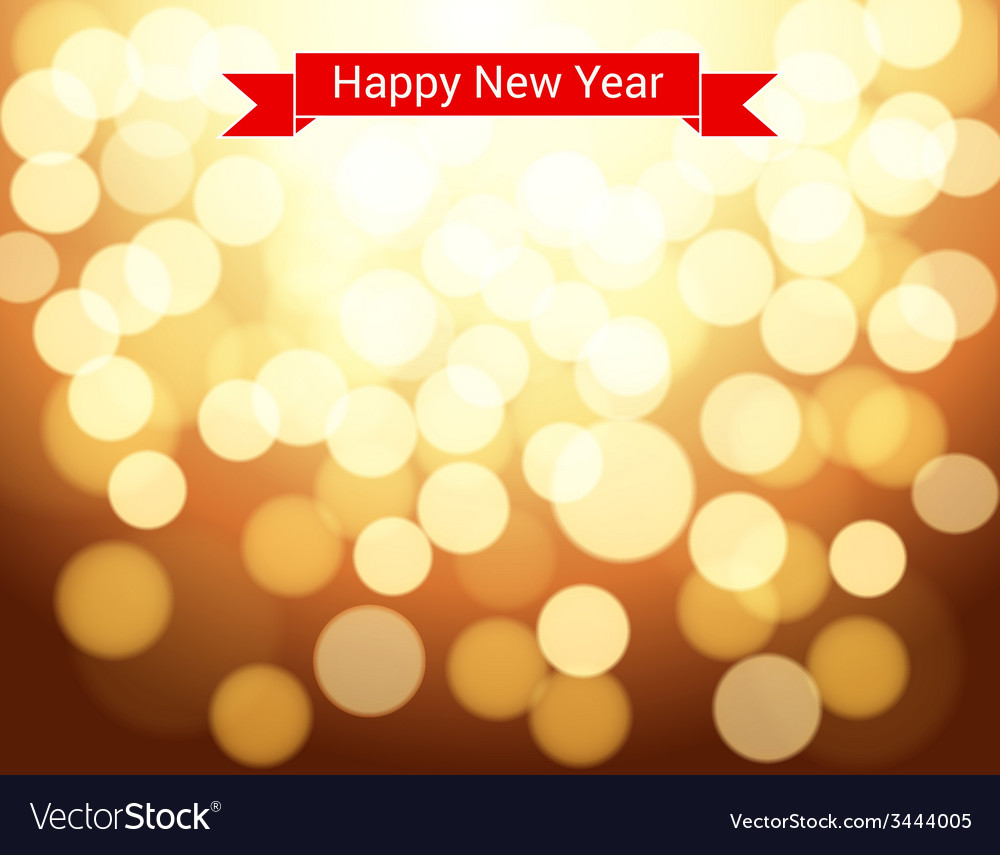 Happy new year ribbon on gold bokeh background vector | Price: 1 Credit (USD $1)