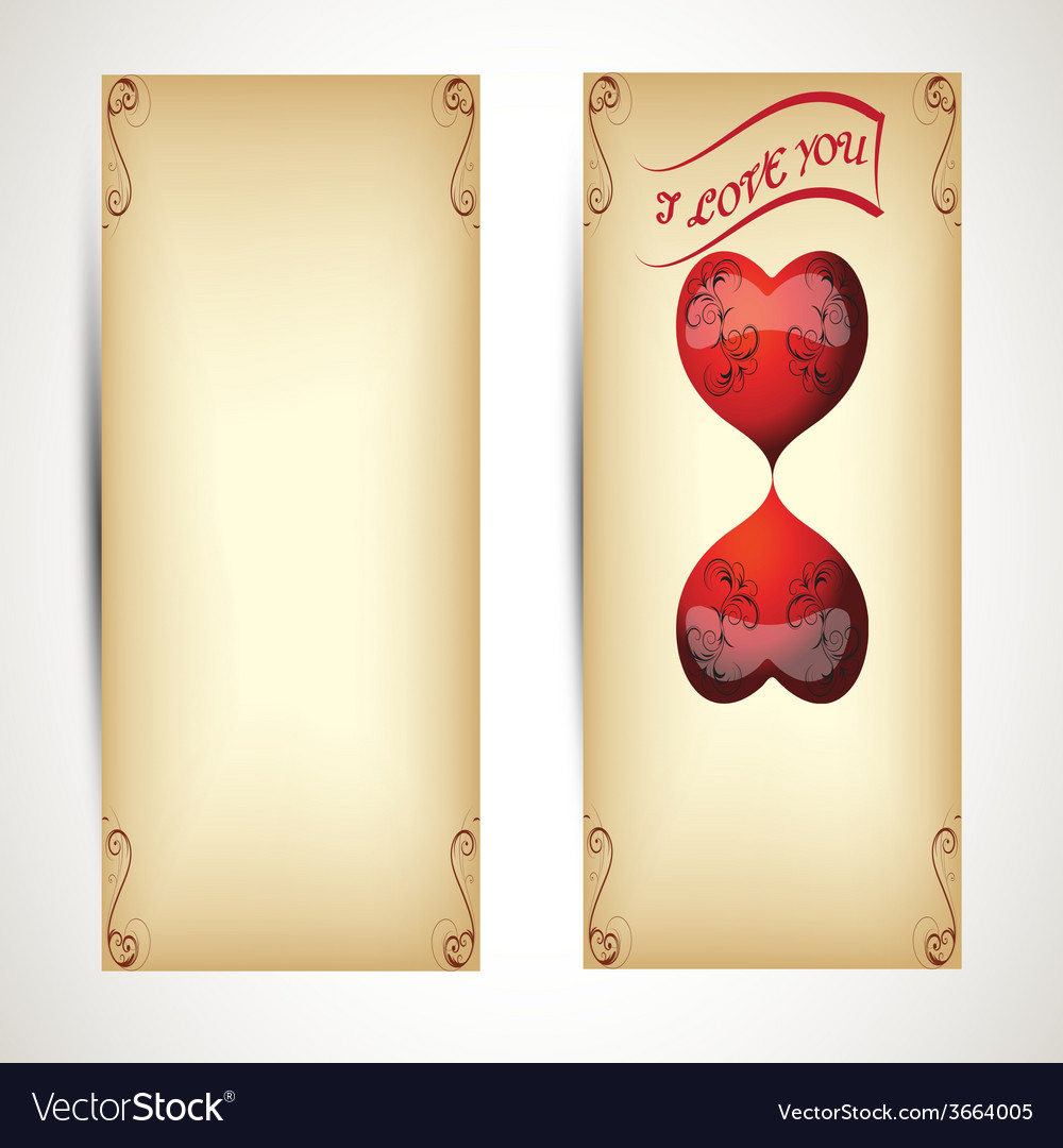 Horizontal flyers with hearts and text in vintage vector | Price: 1 Credit (USD $1)