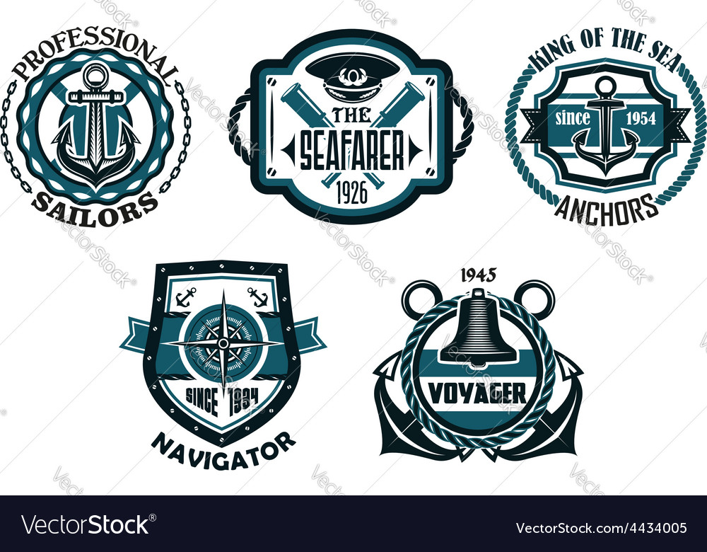 Nautical retro blue emblems with maritime symbols vector | Price: 1 Credit (USD $1)