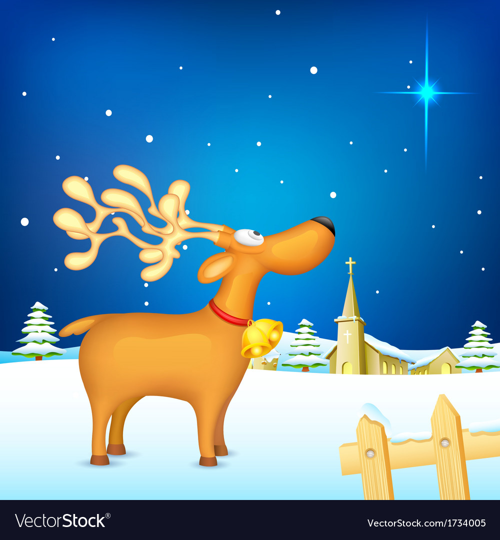 Reindeer in christmas night vector | Price: 1 Credit (USD $1)